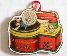 Glittered Wooden CHRISTMAS Ornament ~Record Player ~Handmade~ Vintage Card Image