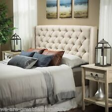 Bedroom Furniture Queen/Full Size Bed Wingback Eggshell Tufted Fabric Headboard