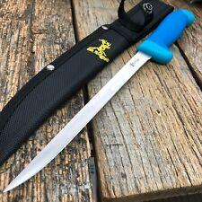 ELK RIDGE Blue FILLET Stainless Steel Fixed Blade Knife + Sheath!