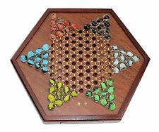 Board Games ~ Chinese Checkers Wooden Game Set Drawers and Marbles US Seller