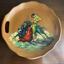 Vintage Original Matador Bullfighting Wood Tray By D. Cardenas Signed 70s RARE