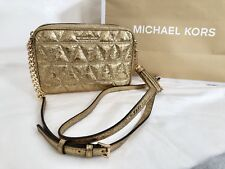 NWT Michael Kors Ginny Quilted Leather Camera Medium Bag Crossbody Pale Gold 228