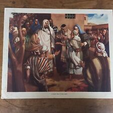 C1950 Vintage Enid Blyton Bible Picture Poster A Blind Man is made happy