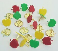 Scrapbooking Brads 24 Apples Paper Crafts Red Green Yellow Handmade Cards