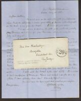 USS Independence 1855 Stampless Ship Cover Excellent Rushenberger Letter in Peru