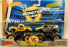 Hot Wheels Monster Jam ZOMBIE vs MOHAWK WARRIOR 1:64 Demolition Doubles