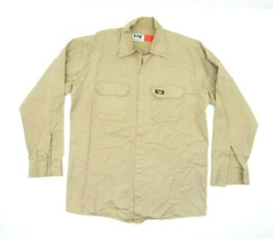 Bulwark FR Flame Resistant Khaki Button Up Shirt Mens Size M Protective Gear