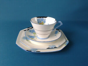 PARAGON HYDRANGEA ART DECO TEACUP, SAUCER, TEA PLATE,SIDE PLATE