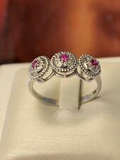 ring anello WHITE gold oro BIANCO18KT 750°/°° rubini NATURALI brillantini