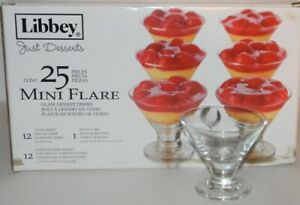Libbey Just Desserts Mini Flare 2.7 oz. Glass Dishes with Spoons 25 Pieces Set