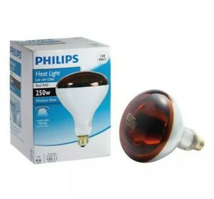Philips Heat Light 250 Watt Red R40 Medium Base NEW A15