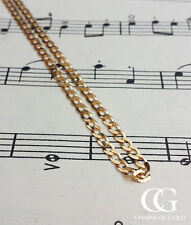 """9ct Yellow Gold Men's 3.6mm Diamond Cut Flat Curb Chain Necklace  20"""" 22"""" & 24''"""