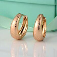New Charms Earrings 18k Yellow Gold Filled Women's Hoop Huggie Fashion Jewelry