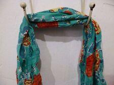 "Nila Rubia Crinkle Cotton Blue Orange Floral Scarf Handblock Printed 74"" x 17"""