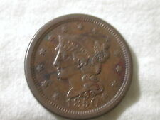 1850 U.S Large Cent Modified Portrait Braided Hair About Uncirculated