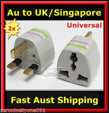 AUS NZ EU USA  to UK SINGAPORE MALAYSIA Power Plug Travel Adapter Converter 2pc