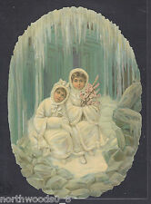 ICE CHILDREN STORM CAVE WINTER GERMANY EMBOSSED SINGLE PAPER  SUPPLIES ORNAMENT