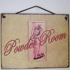 Sign Powder Room Vintage Plaque Bathroom Toilet Vanity Decor Accessory Potty
