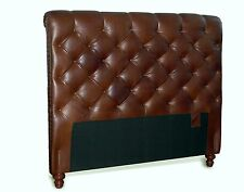 California King Chesterfield Leather Headboard w/ Button tufting & Nail Trim