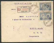 Argentina To Yugoslavia Register Cover 1928 Pair Stamps