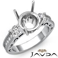 Diamond Engagement 3 Stone Round Semi Mount Milgrain Ring 14k White Gold 0.65Ct