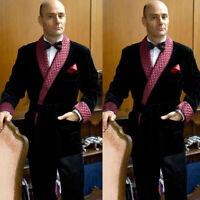 Vintage Men Smoking Jacket Velvet Wedding Grooms Tuxedo Luxury Best Men Suits