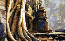 ORIGINAL watercolor painting of ruins at Angkor Wat Cambodia.  Banteay Srei ruin