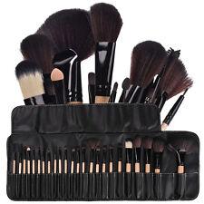 24Pcs Professional Makeup Brushes Cosmetic Set Kit w/Pouch Bag Case Black Wood