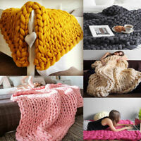 Sofa Blanket Fluffy Chunky Knitted Thick Blanket Hand Yarn Bulky Knit Throw Bed