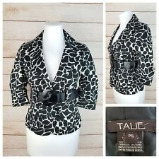Talie Petite PS Black & White Fitted Belted Peplum Blazer Jacket 3/4 Sleeves
