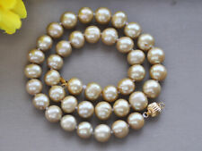 """Z10459 16"""" 11mm Round Champagne Freshwater Pearl Necklace"""