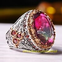 Turkish Handmade 925 Sterling Silver Tourmaline and Ruby Stone Mens Ring