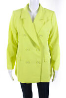 Lioness Womens Double Breasted Don Jacket Blazer Lime Green Size L