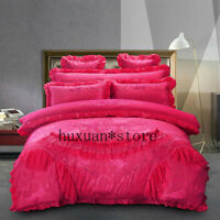 7Pcs Luxury Silk Cotton Jacquard Wedding Bedding Set Lace Embroidery Duvet Cover