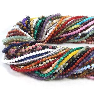 "2mm 3mm round natural gemstone spacer beads strand 15.5"" jewelry making DIY"
