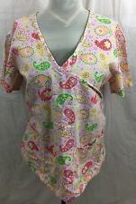 Med Wear Womens XL Pink Paisley Scrub Top Button V Neck Cotton Blend Nurse