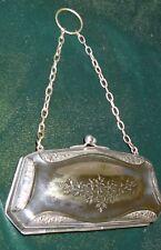 Antique Purse Epns Small Etched & Raise Floral Design Clasp Top Chain & Loop