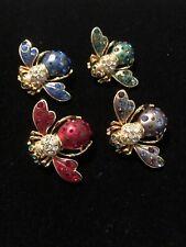 Complete Set Of 4 Vintage Joan Rivers Cosmic Crystal Bee Pins