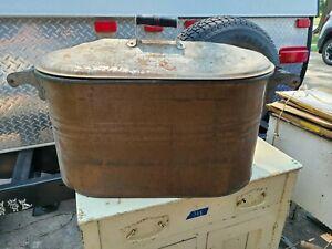 Antique Vintage Copper Boiler Wash Tub w Wood Handles Primitive Country Farm Dcr