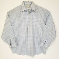 Tommy Bahama Mens Size 17 34/35 Long Sleeve Button Up Dress Shirt Plaid Blue