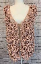 Pink Crochet Fringe Vest Festival Hippie Boho Medium