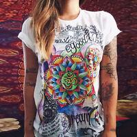 Women Summer Graphic T Shirt Letter Print Loose Top Blouse Tee Short Sleeve UK