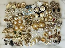 Victorian Revival Lot of 50 Clip Earrings - Mostly Vintage Faux Pearls