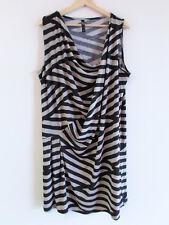 TS Taking Shape +SzM/18-20 Black Taupe Stripe Jersey Drape Cowl Tunic Dress Top