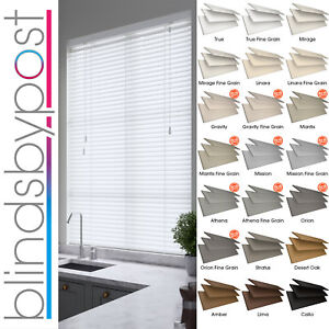 FAUX WOOD IMPRESSION VENETIAN BLINDS MADE TO MEASURE  21 COLOURS