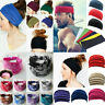 Womens Wide Cotton Sport Yoga Headband Stretch Hairband Elastic Hair Band Turban