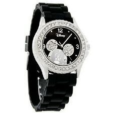 Disney Mickey Mouse Ice Crystal Black Rubber Band Quartz Watch MK1098