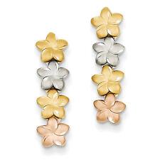 14k Tri-color Gold Plumeria Earrings TH616