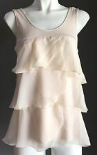 Pre-owned H&M Ivory Sleeveless Organza Tier Top Size EUR S/ AU8