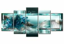"""Large Modern Abstract Blue Wall Art of Flowers 5 Piece Canvas Print 40""""x20"""""""